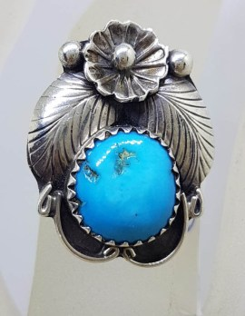 Sterling Silver Natural Turquoise (Native American) Floral Design Ring