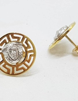 9ct Yellow Gold and White Gold - Two Tone - Medusa Head Stud Earrings - Versace Style