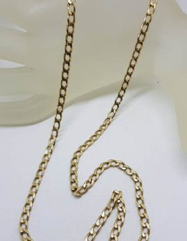 9ct Yellow Gold Flat Curb Link Necklace / Chain