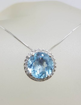 9ct White Gold Oval Blue Topaz with Halo Setting Diamonds Pendant on Gold Chain