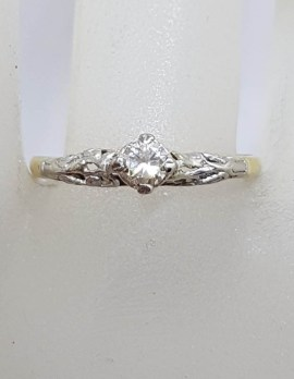 18ct Yellow Gold Ornate Diamond Solitaire Engagement Ring / Dress Ring - Antique / Vintage
