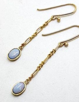 9ct Yellow Gold Oval Opal on Figaro Link Chain Long Drop Earrings - Handmade