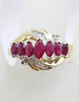 9ct Yellow Gold Seven Marquis Shaped Rubies with Diamonds Ornate Twist Ring - Ruby