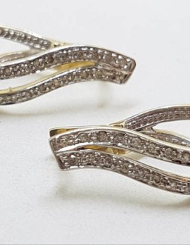 9ct Yellow Gold Double Loop Huggie Hoop Earrings