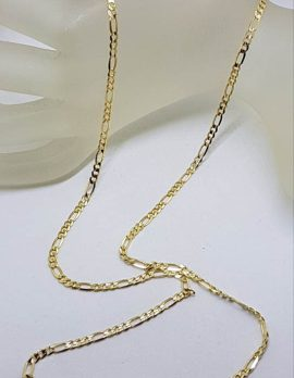 9ct Yellow Gold Long Figaro Link Necklace / Chain