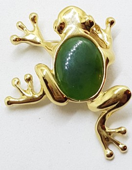 Plated with Jade Body Frog Brooch