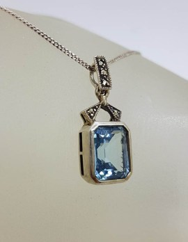Sterling Silver Rectangular Blue with Marcasite Pendant on Silver Chain - Vintage