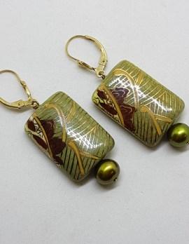 Porcelain and Pearl Green Ornate Design Drop Earrings