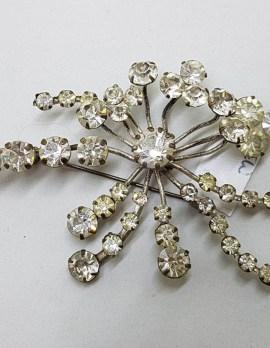 Clear Spray Rhinestone Plated Cluster Brooch - Vintage Costume Jewellery