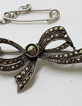 Sterling Silver Marcasite Bow Brooch - Vintage