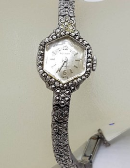 Sterling Silver Marcasite Hexagonal Shaped Watch - Vintage