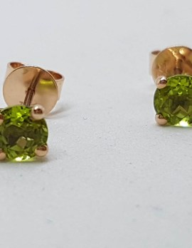 9ct Rose Gold Round Claw Set Peridot Stud Earrings