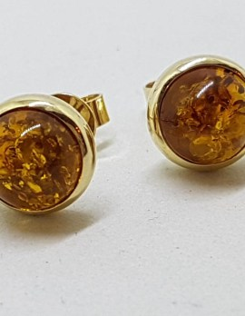 9ct Yellow Gold Round Bezel Set Natural Baltic Amber Stud Earrings