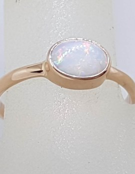 9ct Rose Gold Oval Bezel Set Solid Opal Ring - White with Colour