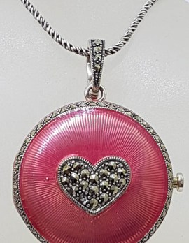 Sterling Silver Pink Guilloché Enamel with Marcasite Heart Round Locket, Compact, Mirror Pendant on Silver Chain