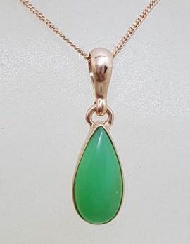 9ct Rose Gold Teardrop / Pear Shaped Bezel Set Chrysoprase - Australian Jade - Pendant on Gold Chain