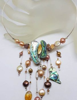 Sterling Silver Large and Unusual Designer Cluster Drop Necklace / Choker / Chain with Paua Shell, Pearl and Citrine