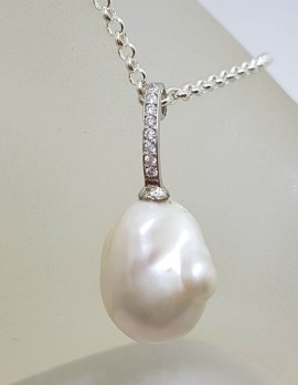 Sterling Silver Baroque Pearl with Cubic Zirconia Drop Pendant on Silver Chain with Paua Shell, Pearl and Citrine