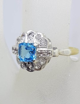 9ct Yellow Gold Square Topaz surrounded by White Sapphires Cluster Ring - Antique / Vintage