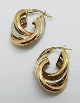 9ct Yellow Gold, Rose Gold and White Gold - Three Tone - Wide Hoop Earrings