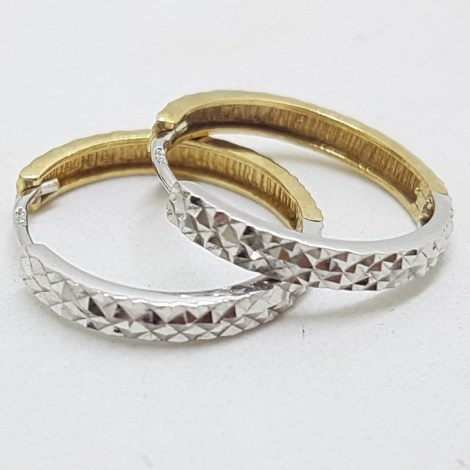 9ct Yellow Gold with White Gold - Two Tone - Patterned Hoop Earrings