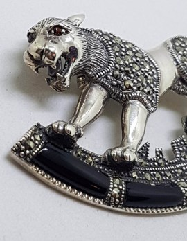 Sterling Silver Marcasite & Black Onyx Big Cat Brooch – Puma / Jaguar