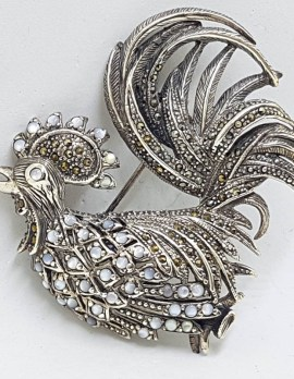 Sterling Silver Very Large Marcasite and Mother of Pearl Rooster Brooch