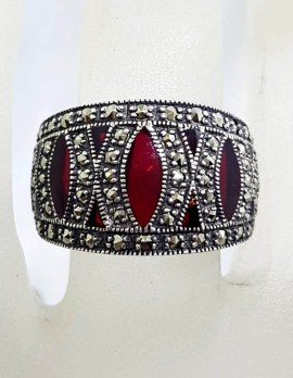 Sterling Silver Rich Red Enamel and Marcasite Wide Band Ring