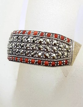 Sterling Silver Marcasite and Red Coral Wide Band Ring