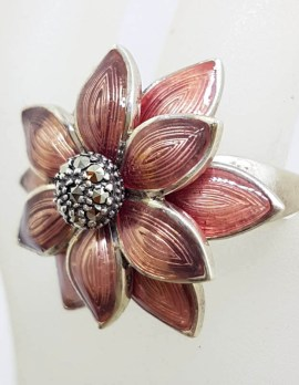 Sterling Silver Pink Enamel and Marcasite Large Flower Ring