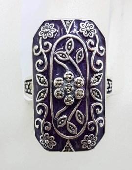 Sterling Silver Marcasite Long Rectangular Ornate Dark Purple Enamel Ring
