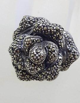 Sterling Silver Marcasite Large Rose Flower Ring