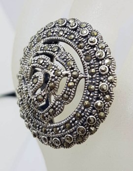 Sterling Silver Marcasite Large Rose Flower in Round Circle Ring