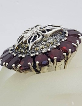 Sterling Silver Very Large Round Butterfly Marcasite & Garnet Cluster Ring