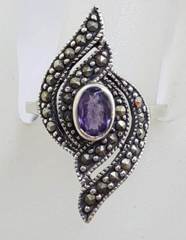 Sterling Silver Oval Amethyst with Marcasite Twist Design Ring