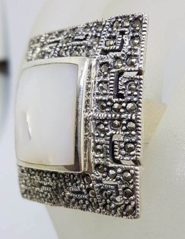 Sterling Silver Mother of Pearl & Marcasite Very Large Ornate Square Cluster Ring - Greek Key Design