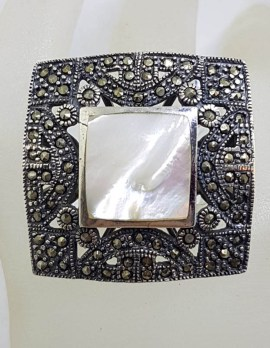 Sterling Silver Mother of Pearl & Marcasite Very Large Ornate Square Cluster Ring
