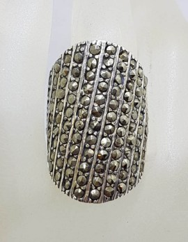 Sterling Silver Very Large and Bulky Flat Curve Shape Marcasite Ring