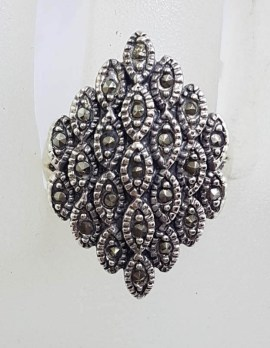 Sterling Silver Large Marquis Shape Marcasite Cluster Ring