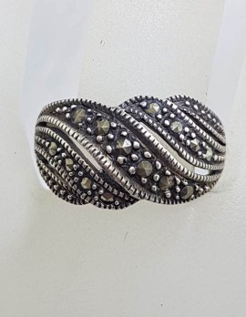Sterling Silver Wide Wave Design Marcasite Band Ring