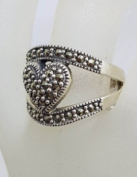 Sterling Silver Wide & Large Marcasite Heart Ring