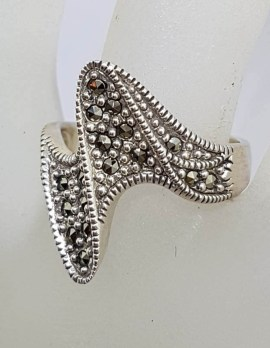 Sterling Silver Wide Marcasite Twist Ring