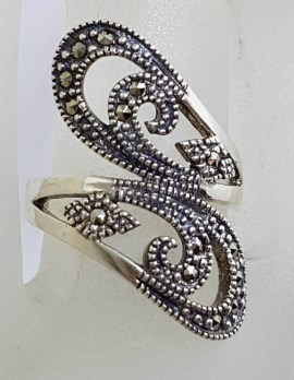 Sterling Silver Wide Marcasite Ornate Open Design Twist Ring