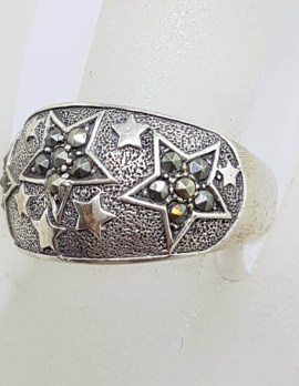 Sterling Silver Wide Marcasite Band Ring with Star Motif Ring