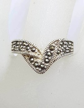 Sterling Silver Marcasite Twisted Wishbone Ring