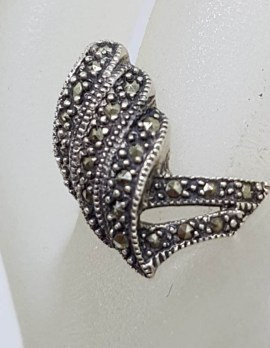 Sterling Silver Marcasite Thick Twist Ring