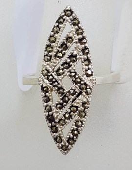 Sterling Silver Marcasite Elongated Marquis / Canoe Shape Art Deco Style Cluster Ring