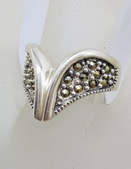 Sterling Silver Marcasite Wide Wishbone Ring