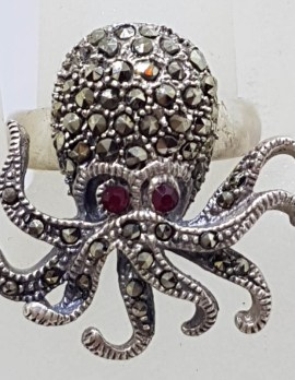 Sterling Silver Marcasite with Red Eyes Large Octopus Ring