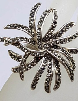 Sterling Silver Exquisite Marcasite Very Large Organic Spray Ring